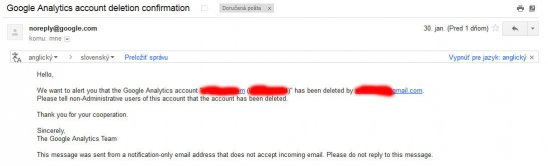 google analytics account deletion